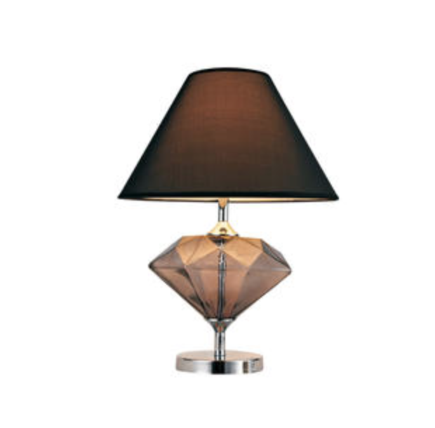 1 Light 22 Brown Colored Glass Diamond Shaped Table Lamp Table Lamp Lamp Glass Table Lamp