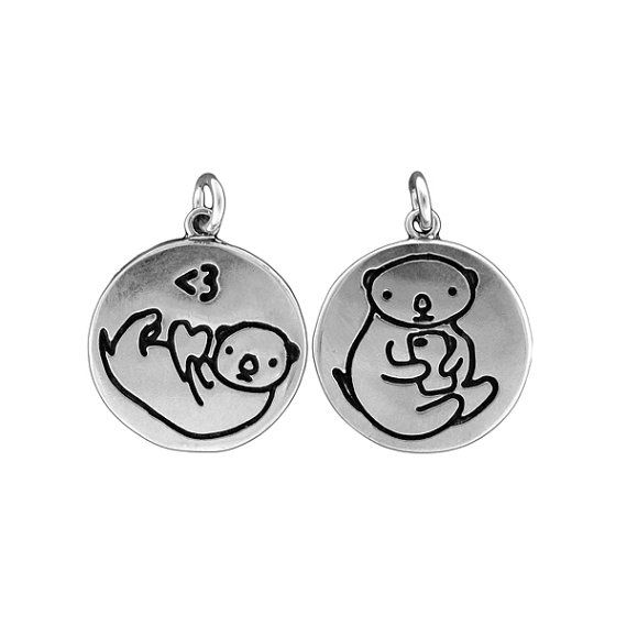 Texting otter necklace reversible sterling silver otter pendant texting otter necklace reversible sterling silver otter pendant sea otter medallion aloadofball Images