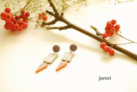 Grey Orange Stud Earrings  Textured Earrings by Pysar on Etsy, $25.00