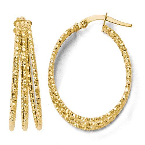 Leslie's 14k Diamond-cut Triple Oval Hoop Earrings