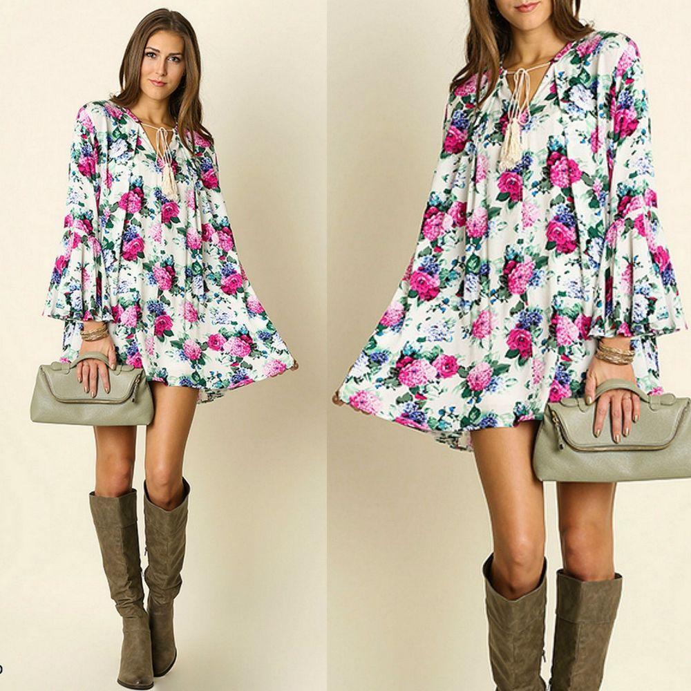 4343db3c3fd1af Umgee USA Bell Sleeve Ivory Floral Print Trapeze Swing Dress Tunic Top BOHO  S-XL  UmgeeUSA  Trapeze  Casual