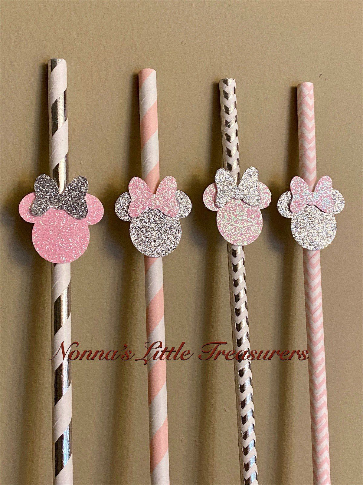 12 pcs Baby Minnie Mouse Party Favors Supplies Decorations 1st Birthday Lollipops w// Pink Bows Favors