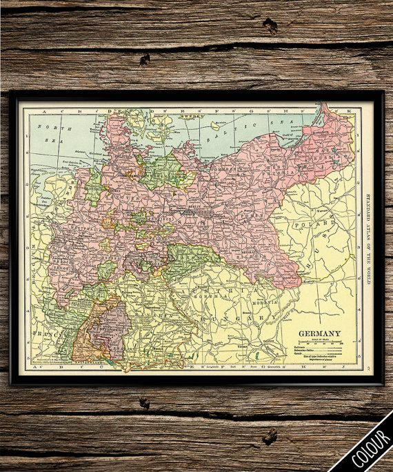 Map of Germany LARGE Vintage Prints Travel by UniquelyGiftedArt ...
