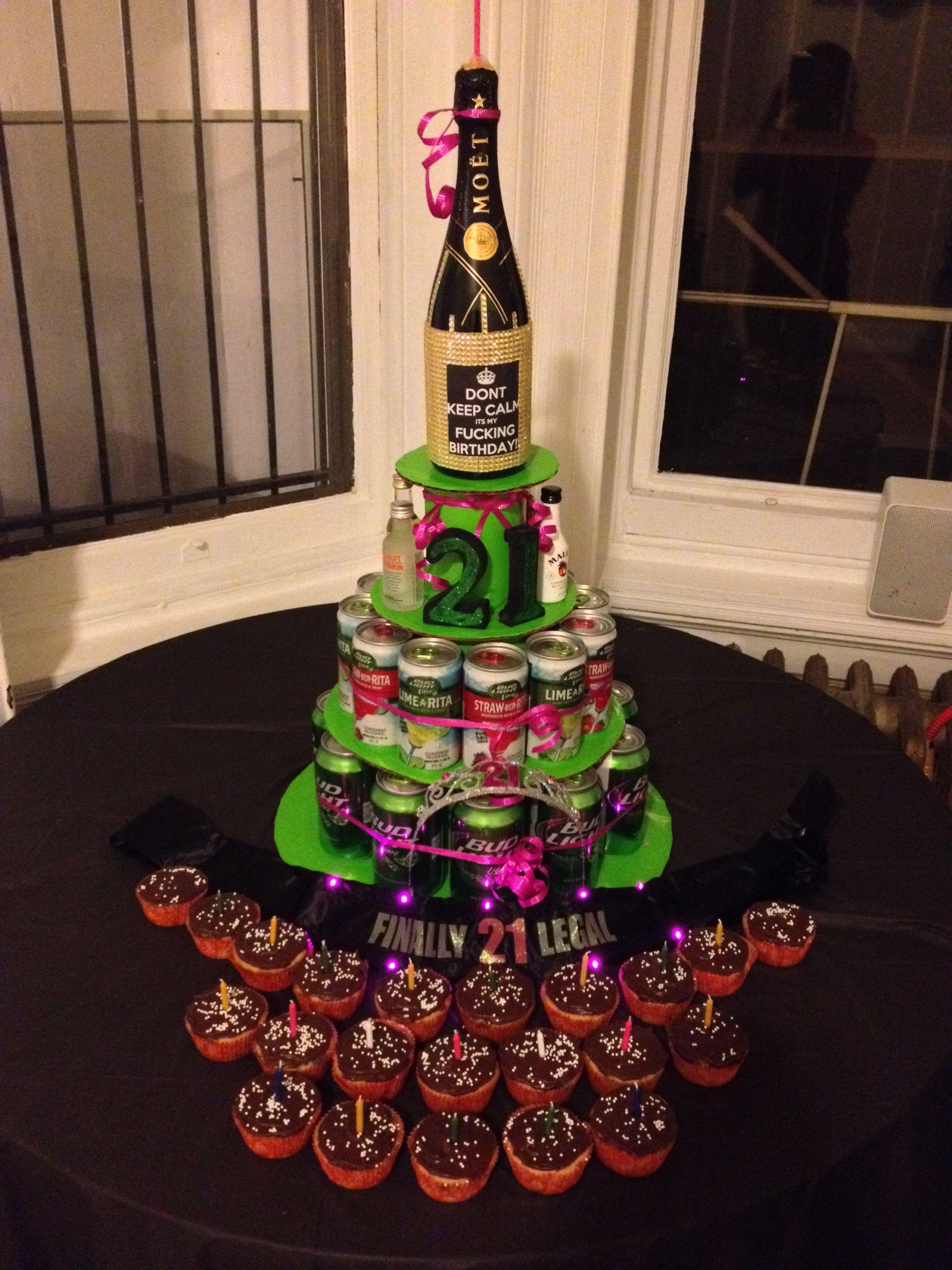 Roomates 21st bday alcohol cake | 21st bday ideas, Diy ...