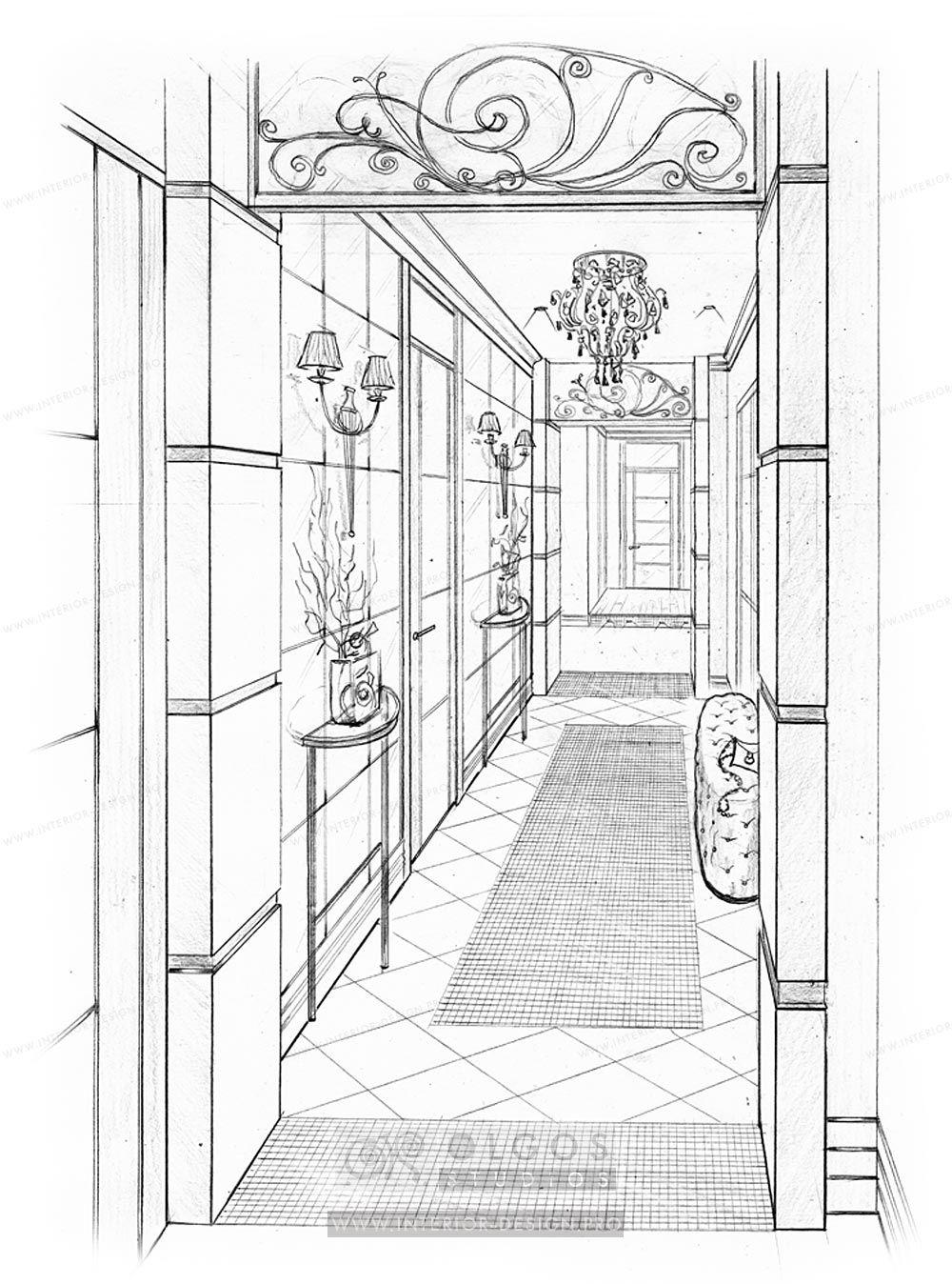 Inside House Drawing: Custom Hallway Interior Design At A Price Of €25/m2 In