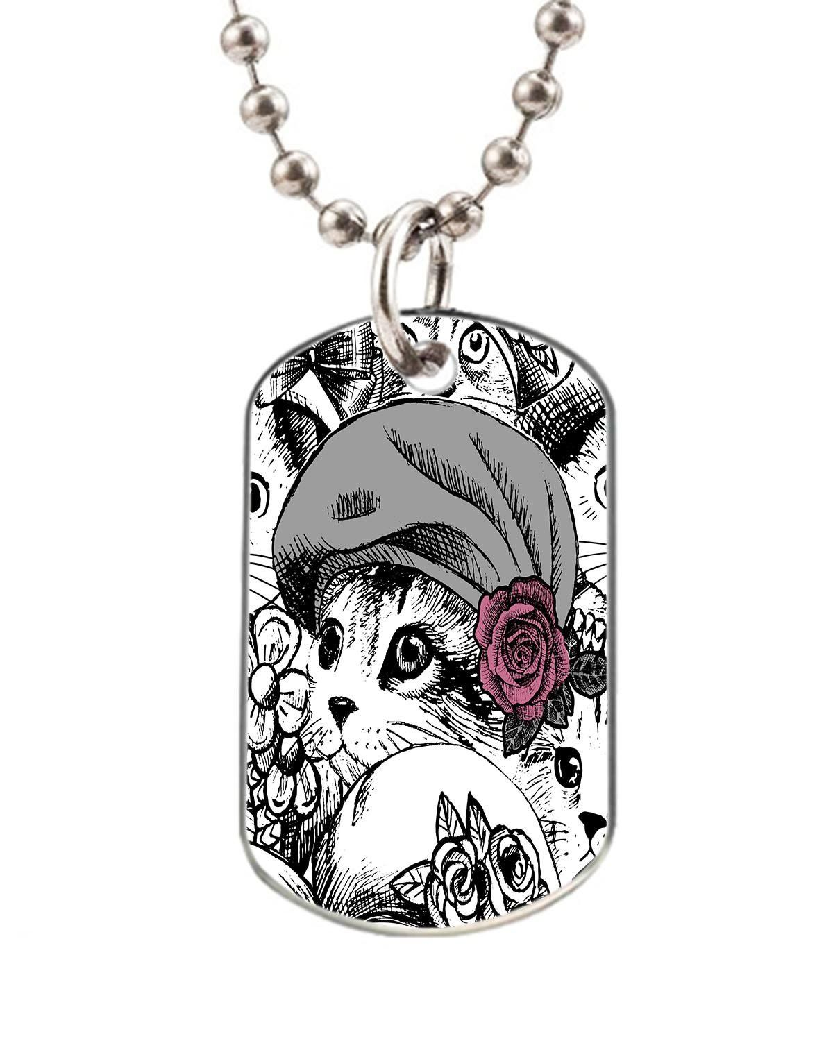 Cat mother and cat baby dog pet tag--- BIG-Size oval Dog Pet Tag 1.32 x 2.2 inche with 38' Aluminum Bead Chain * Click image for more details. (This is an affiliate link and I receive a commission for the sales)