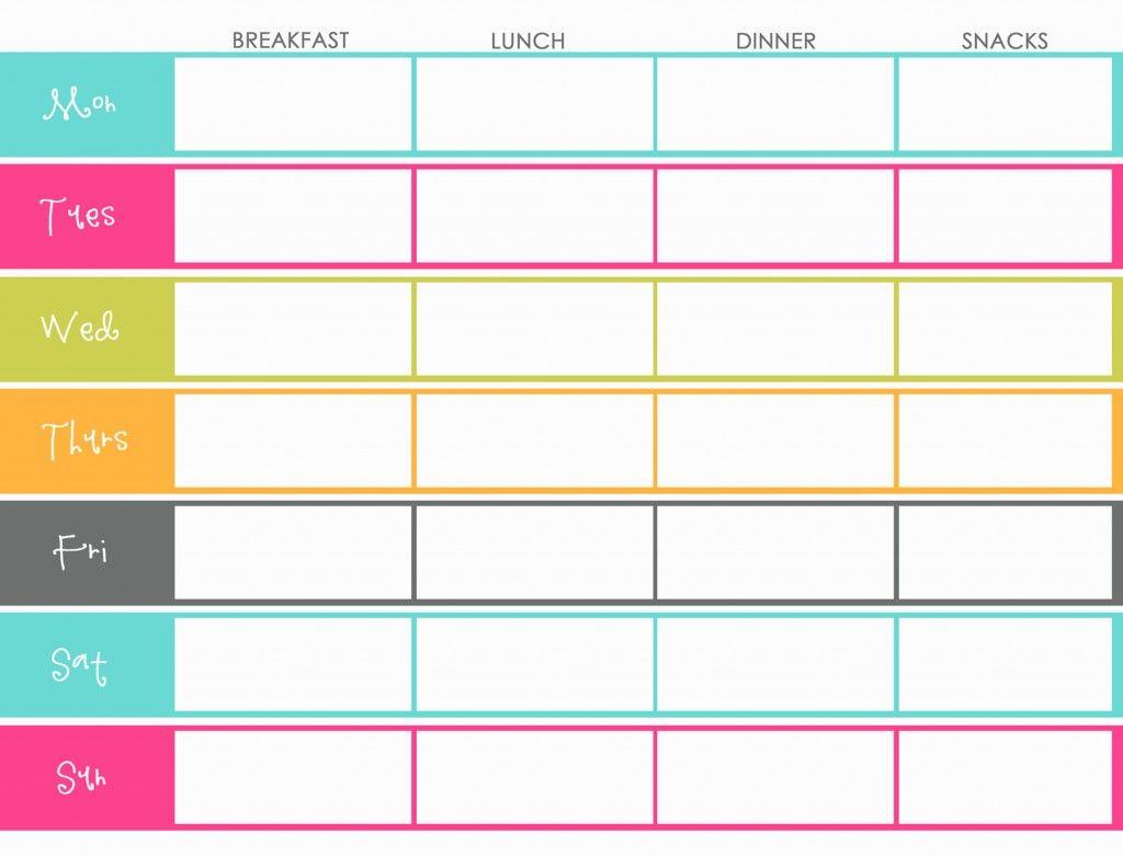 menu planner forms