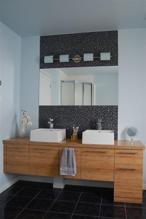 Vanit de salle de bain en panneaux de bambou horizontal for Vanite salle de bain