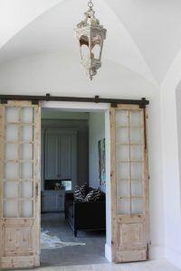 Puertas antiguas dobles correderas madera salon ecodeco in for Puertas correderas antiguas
