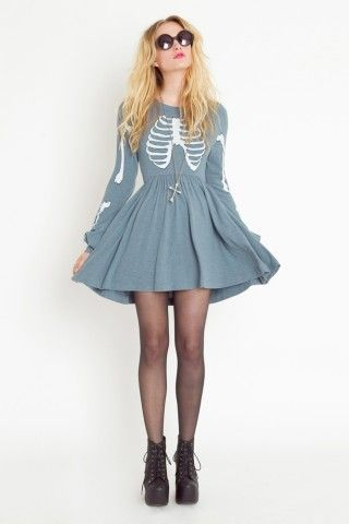 Wildfox  Skeleton Babydoll Dress