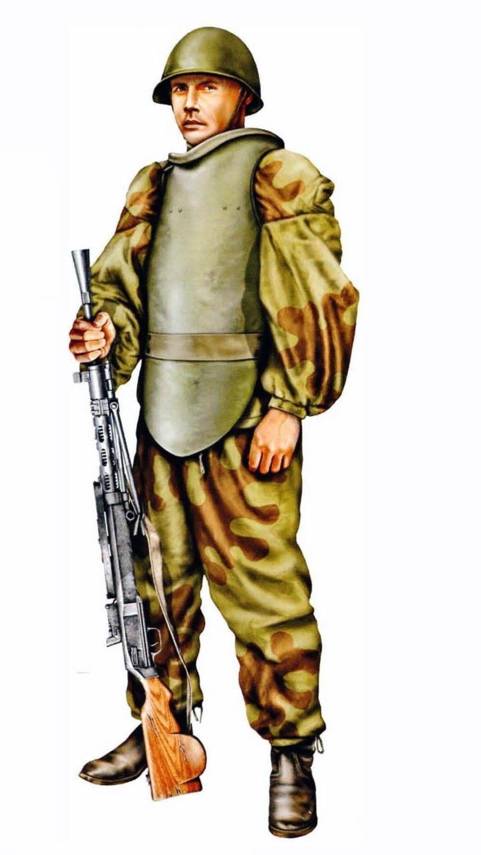 ARMATA ROSSA - Esploratore (Razvedchiqui) protetto da una corazza con una mitragliatrice Degtyarev DP da 7,62 mm. - Difesa della cittadella di Breslau, 8 febbraio - 6 maggio 1945