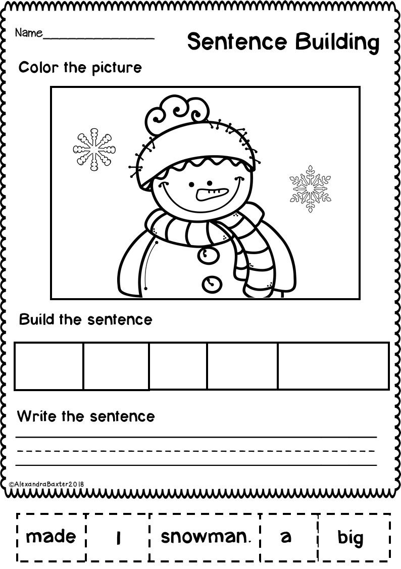 Sentence Making Worksheets For Kindergarten