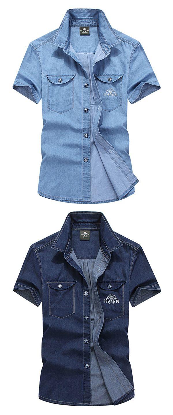Plus Size Casual Cargo Shirts for Men : Thin / Cotton Denim / Double Chest  Pockets