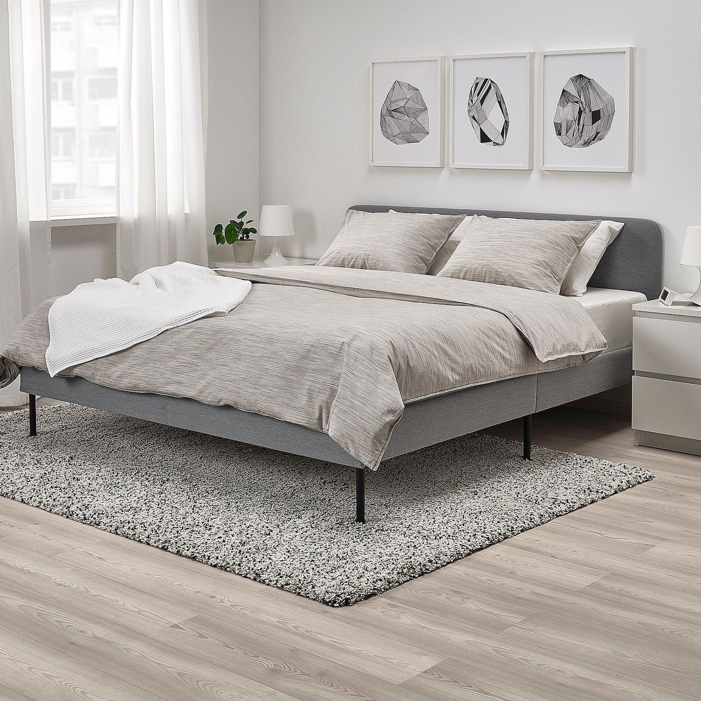 Slattum Upholstered Bed Frame Knisa Light Gray Queen Ikea Grey Upholstered Bed Upholstered Bed Frame Grey