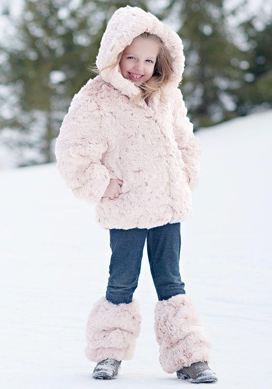 Girls' Blush Rabbit Faux Fur Parka