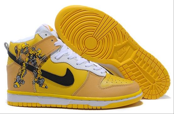 I found 'Custom Transformers Bumblebee Nike Dunks Hightops Sneaker' on  Wish, check it out!