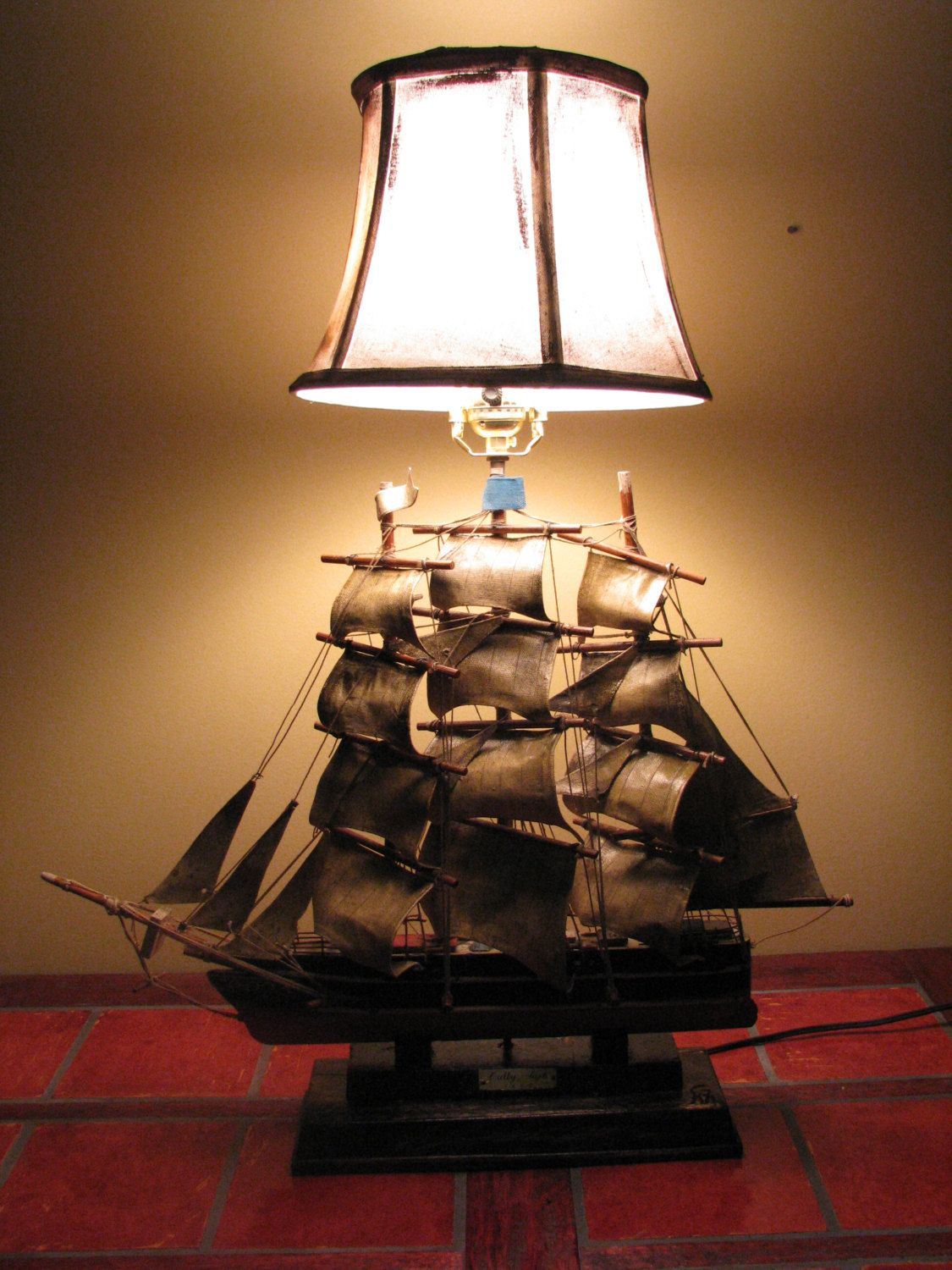 Pleasing Cutty Sark Ship Table Lamp Upcycled Ship Lamp Vintage Ship Interior Design Ideas Clesiryabchikinfo