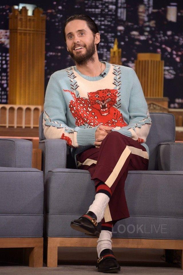 fadc282607 Jared Leto wearing Gucci Stretch cotton socks with web, Gucci ...