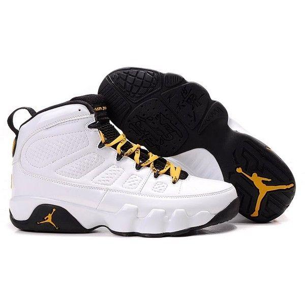 Air Jordan 9 Ix Retro White Gold Black Liked On Polyvore