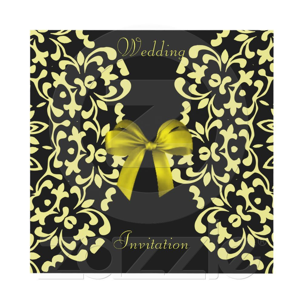 Yellow Black Pretty Lace Wedding Invites | Zazzle.co.uk | We ...