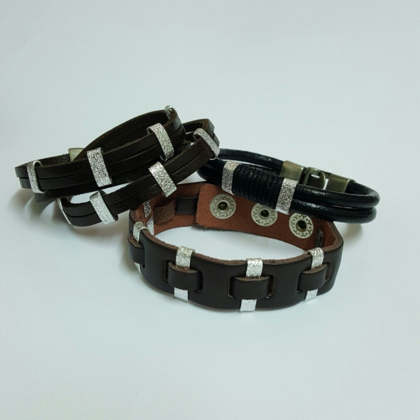 Coming soonleather and silver braceletunisex braceletmens and