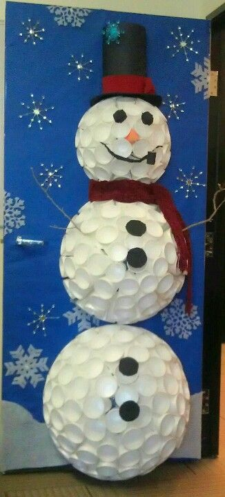 Snowy the Snowman by Bonnie & Cristina.  Inspired by a Styrofoam cup snowman found on Pinterest. Created my own to enter it into our Holiday office door decorating contest. 140 16 oz cups plus 50 8.5 oz cups for the head. Tricky and time consuming but TOTALLY worth it. #christmasdoordecorationsforwork