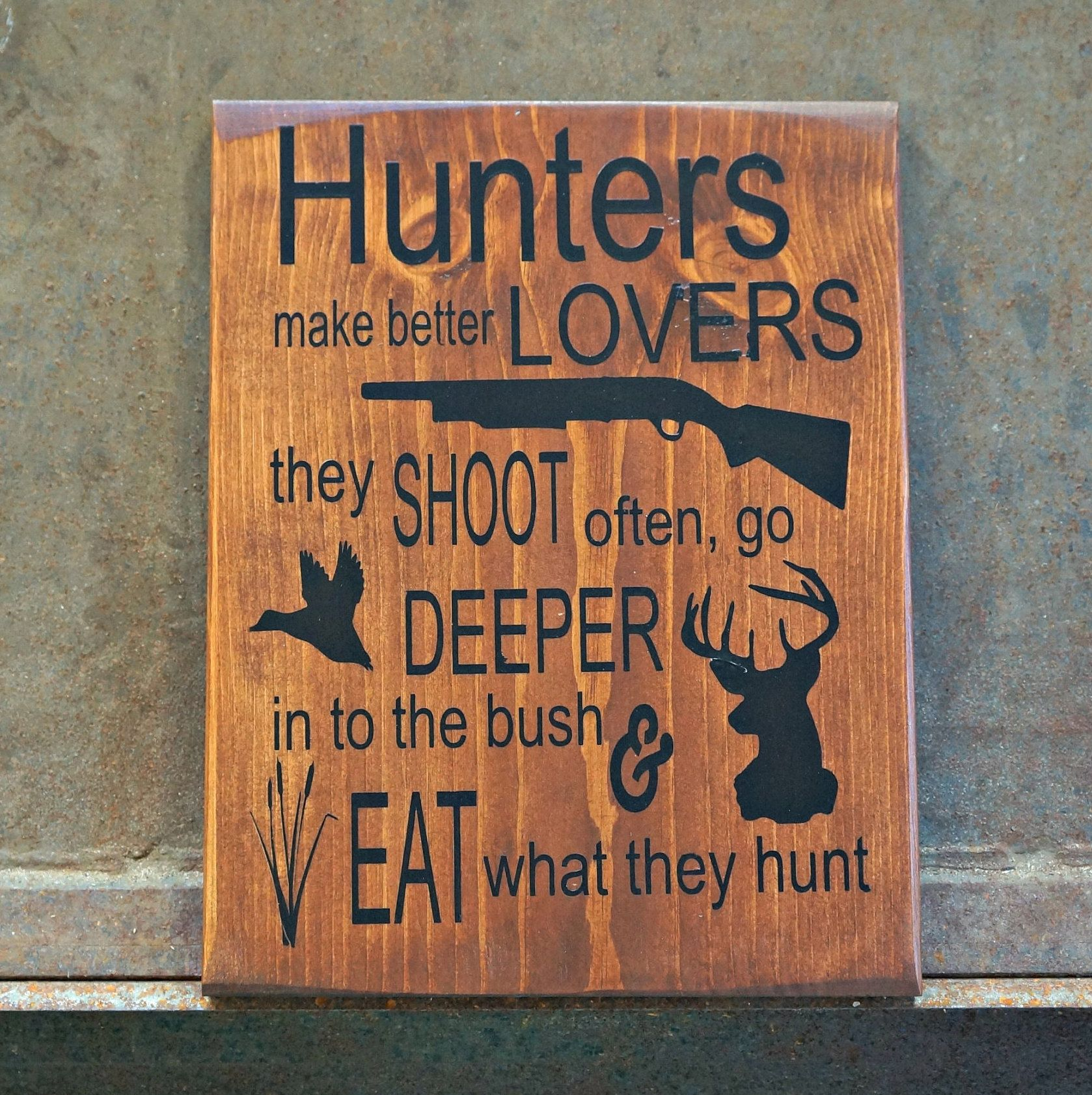 Deer Camp Buck Sign Hunting Lodge Hunter Log Cabin Rustic Wood Plank Home Decor