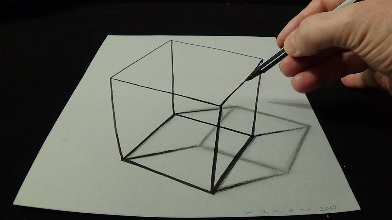 3d drawing a simple cube no time lapse how to draw 3d cube art