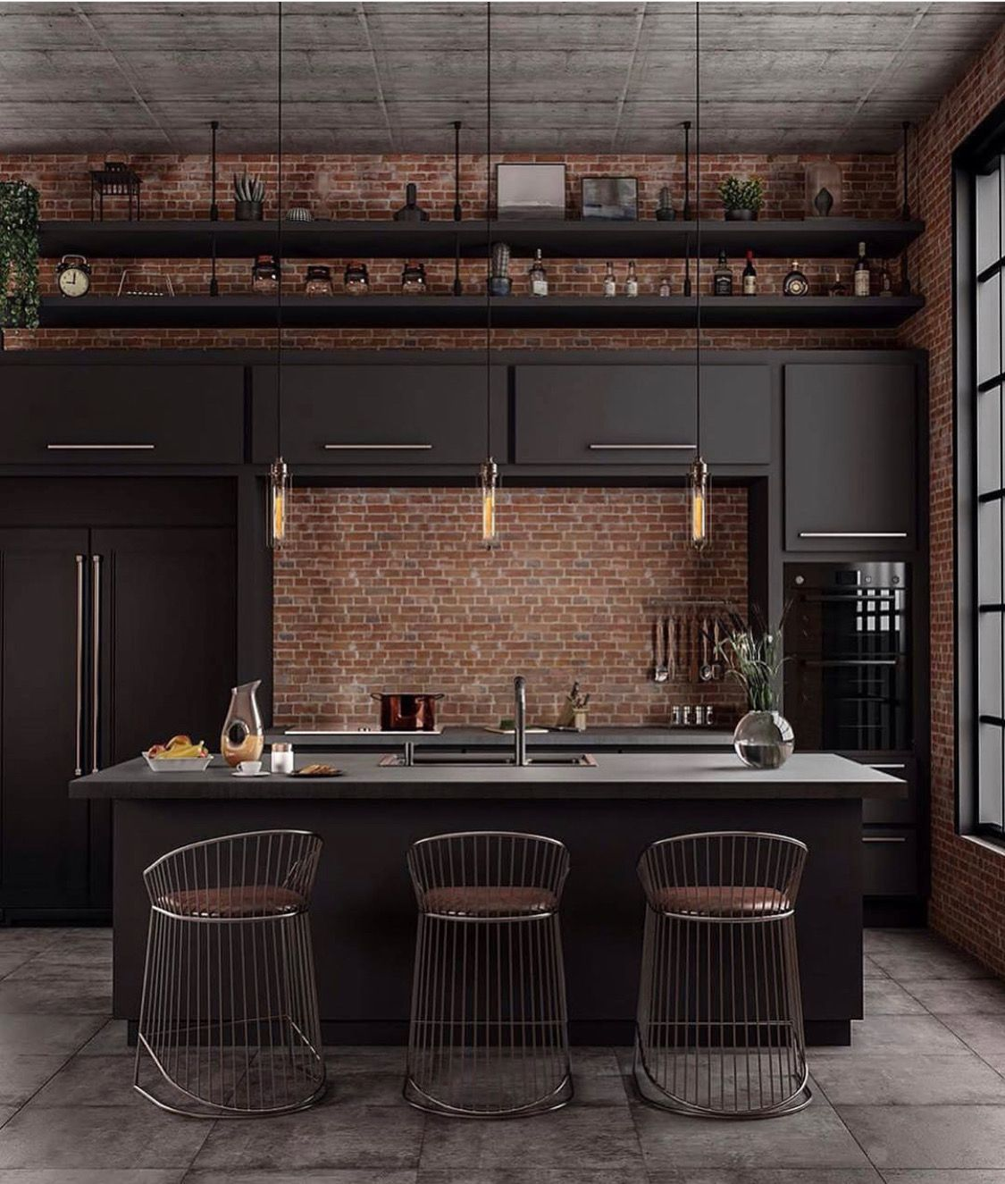 Pin By Victoria Pons On Houses Industrial Decor Kitchen Industrial Kitchen Design Industrial Style Kitchen