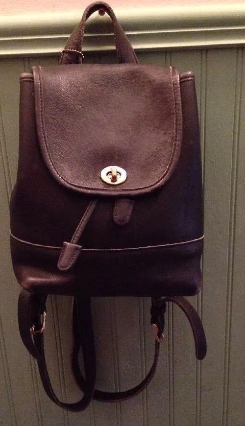 93656bd1ba Vintage Black Leather Coach Backpack 9960  Coach  BackpackStyle ...