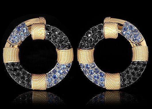 Yellow gold, Black sapphire, Sapphires Item no: E0293-0/1