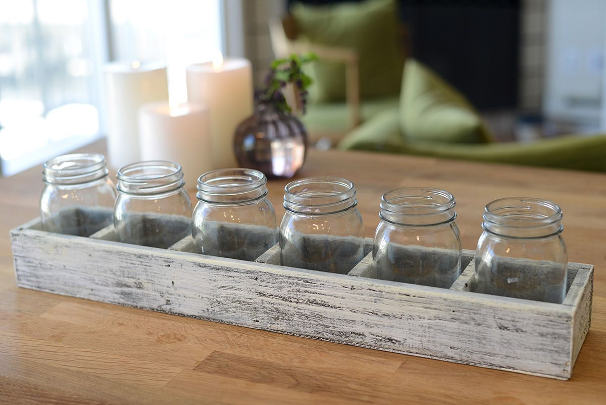 Long Whitewash Wood Crate With 6 Mason Jars 23 Mason Jar Candles Long Wood Box Wood Crates