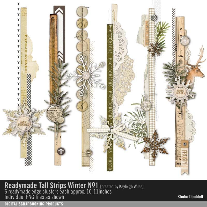 Readymade Tall Strips: Winter No. 01 Vintage Winter Border Edges CLusters with snowflakes #designerdigitals