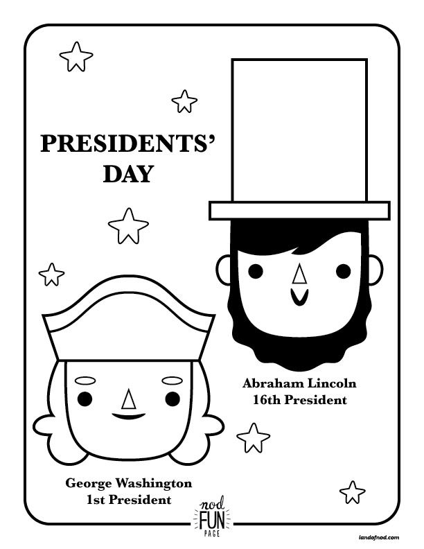 Nod Printable Coloring Page: Presidents Day | Free printable, Story ...