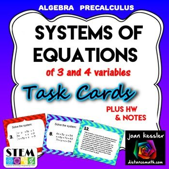 Solving Systems Of Equations With 3 Variables Task Cards Hw