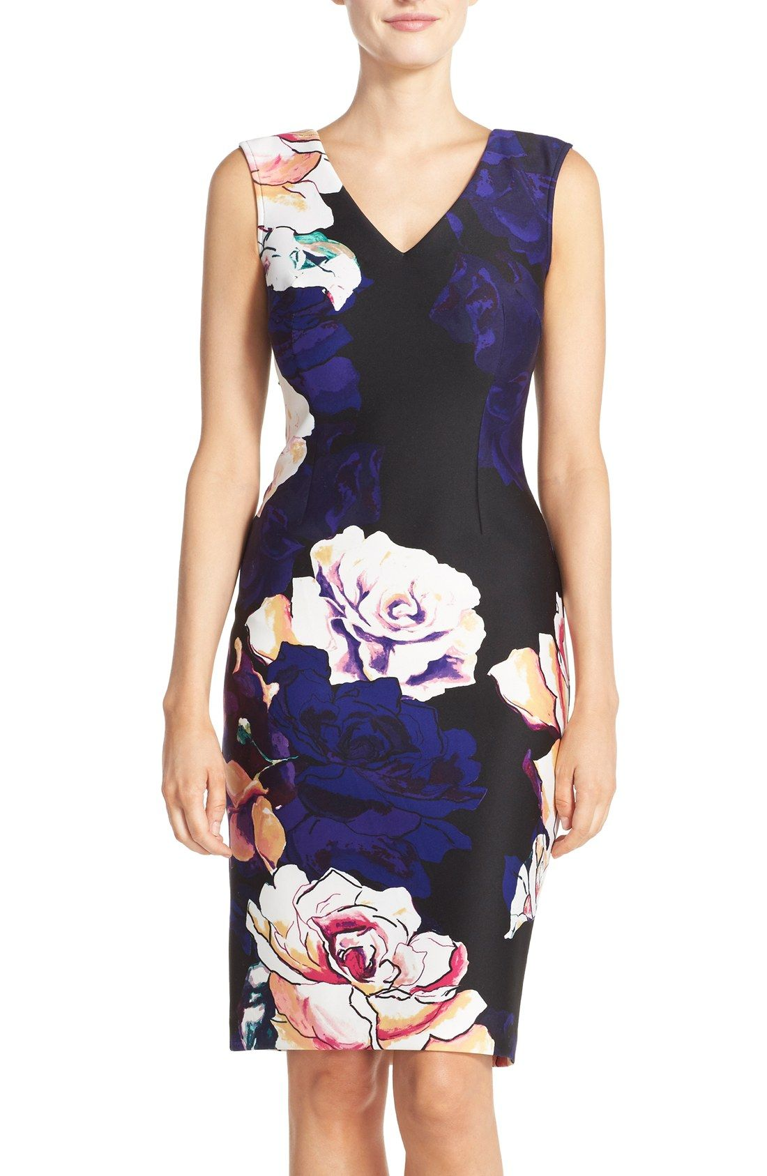 a40fc259917e Adrianna Papell Floral Print Scuba Sheath Dress | My Style in 2019 ...