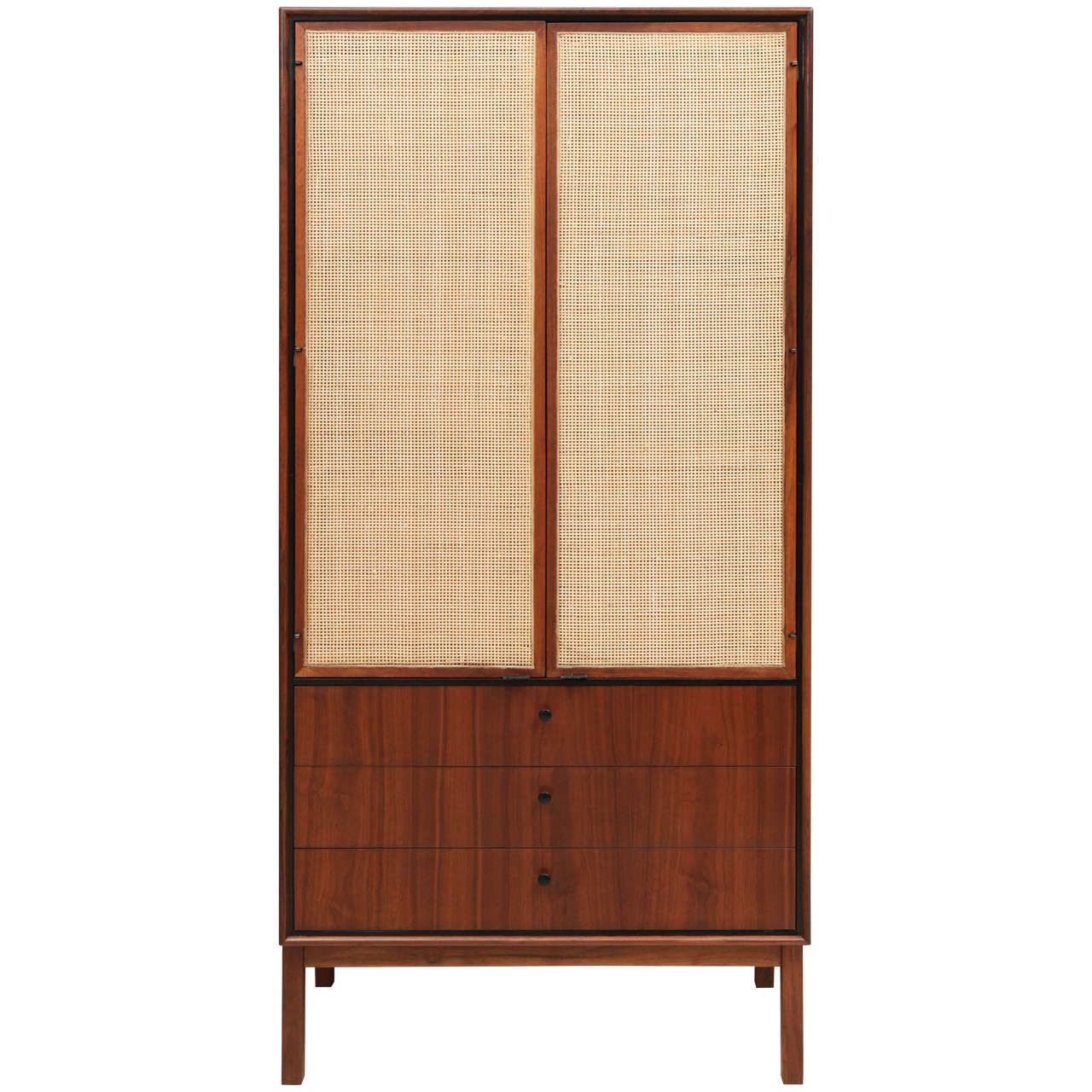 Tall Walnut And Cane Cabinet With Drawers At Bottom Cane Cabinet Wardrobe Furniture Cabinet Drawers