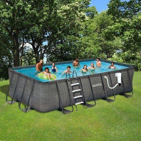 Summer Waves Elite Dark Wicker 9 Ft X 18 Ft Rectangle Metal Frame Pool Package 52 In Deep Walmart Com Summer Waves Swimming Pool Stores Cool Swimming Pools
