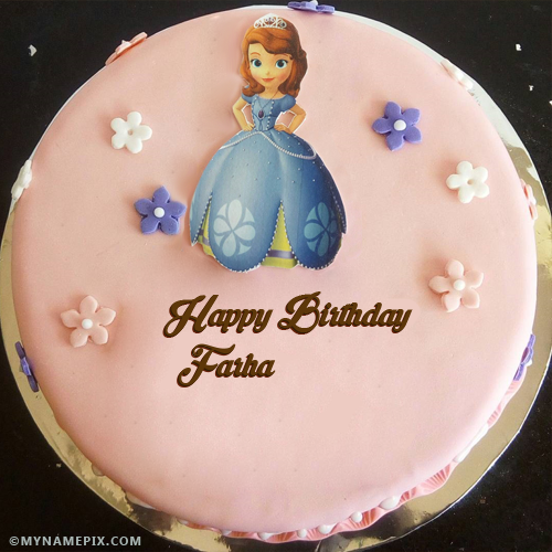 The Name Farha Is Generated On Beautiful Girl Birthday Cakes