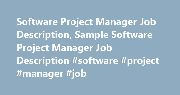 Software Project Manager Job Description Sample Software Project