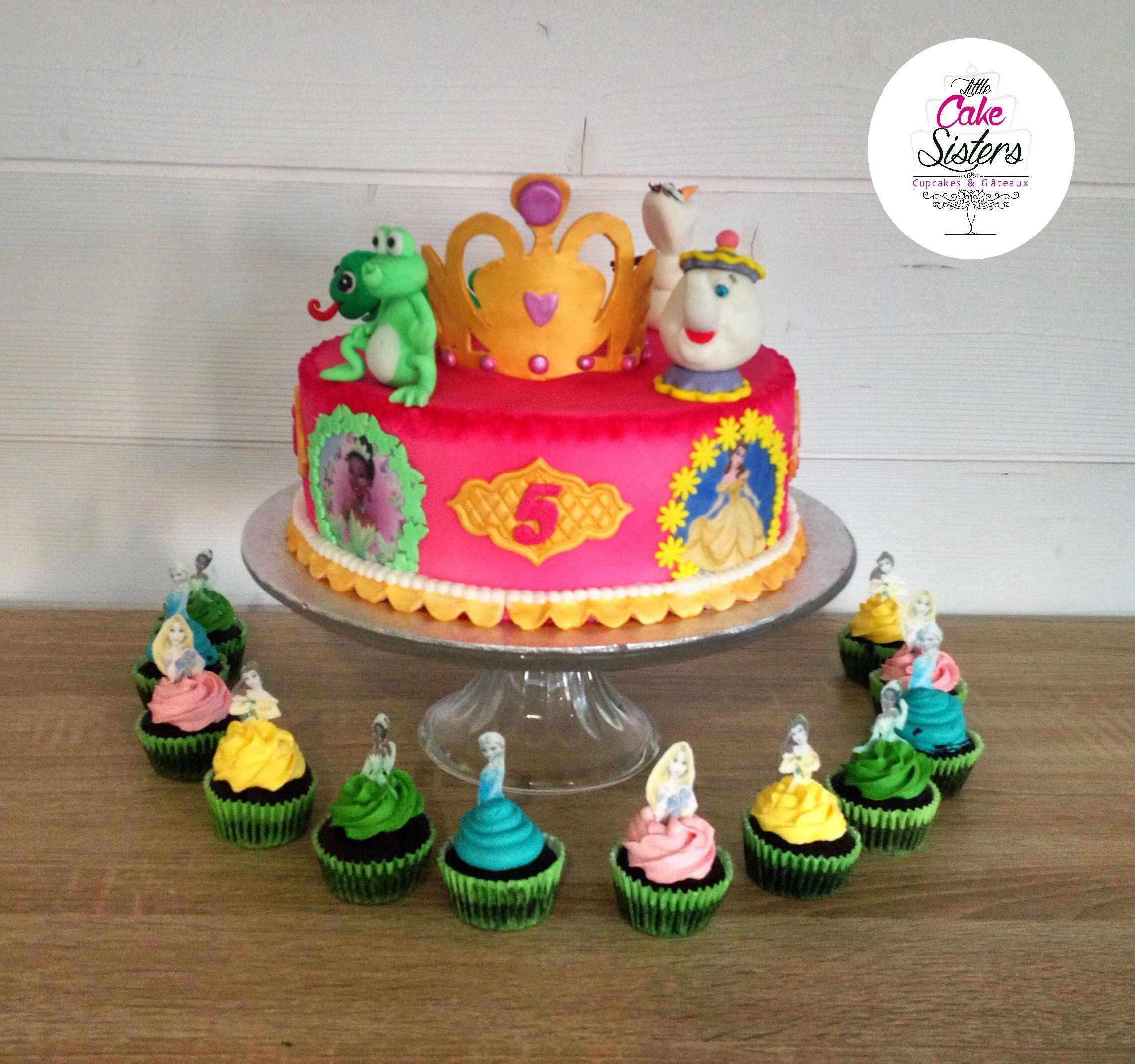 G teau princesses disney couronne p te sucre la belle et la b te raiponce la princesse et - Gateau anniversaire disney ...