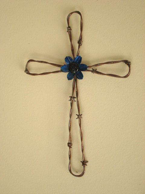 Hand Crafted Barbed Wire Wall Cross with Blue by Jaysmetaldesigns ...