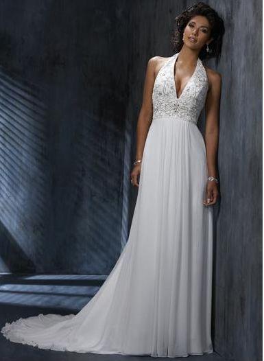 Tempting A Line Haltered Liques Decorated Chapel Tr Empire Waist Wedding Dress Online