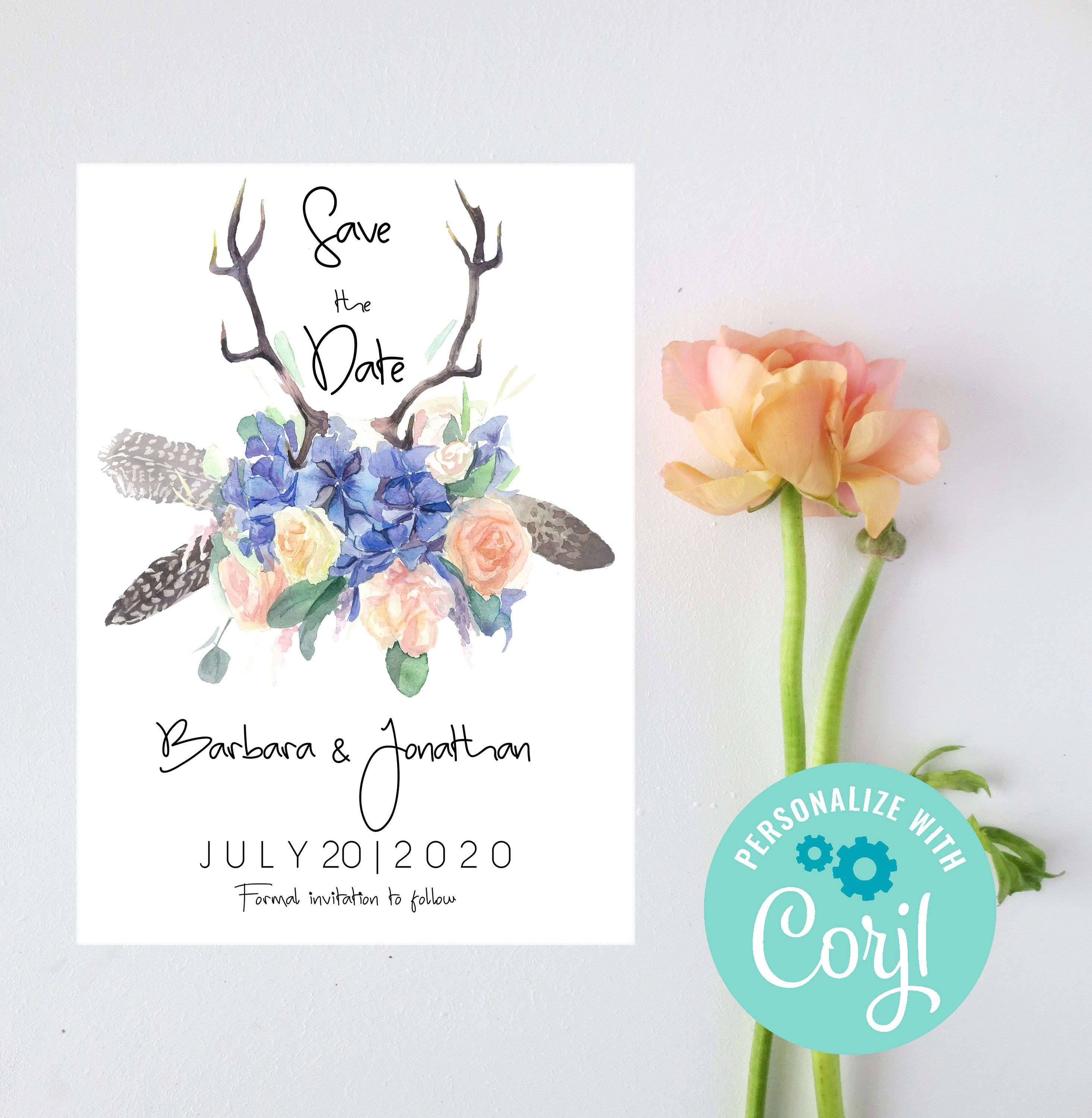 Rustic Save The Date Template, Boho Wedding Card, INSTANT ...