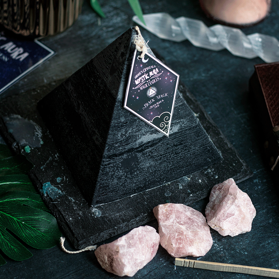 Prepare yourself for major change with our Black Magic Spell Candle. Our Pyramid candles have hidden crystals and treasures inside for you to collect. The black rose, because it symbolizes death and passing away, also indicates a major change or upheaval in the future. In that sense, the black rose also means the death of old habits and the old order. It inspires confidence and enthusiasm by signaling the birth of a new era of hope and joy. Burns for 75+ hours Comes with 4+ hidden treasures Tong
