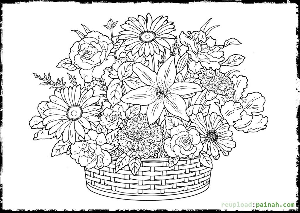 Advanced Coloring Pages for Adults Vas Flower Flower