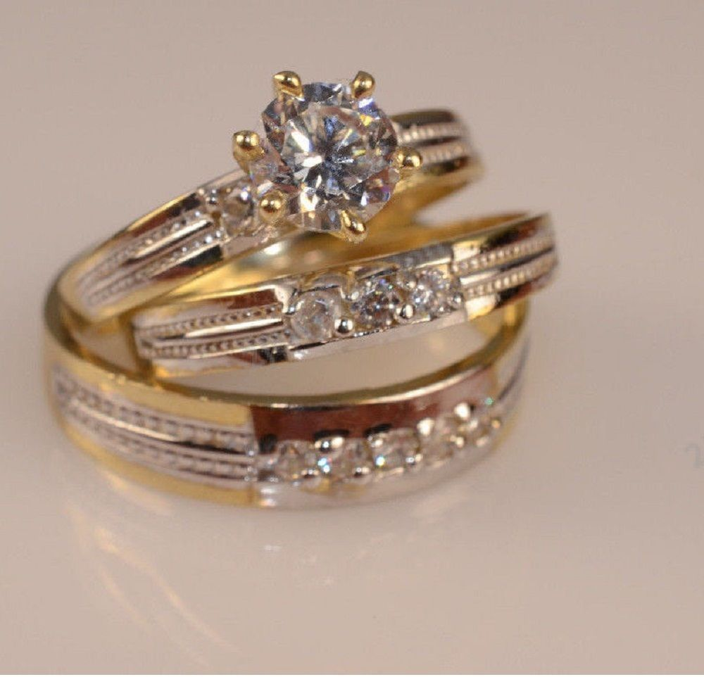 details about diamond wedding ring set his and her matching trio