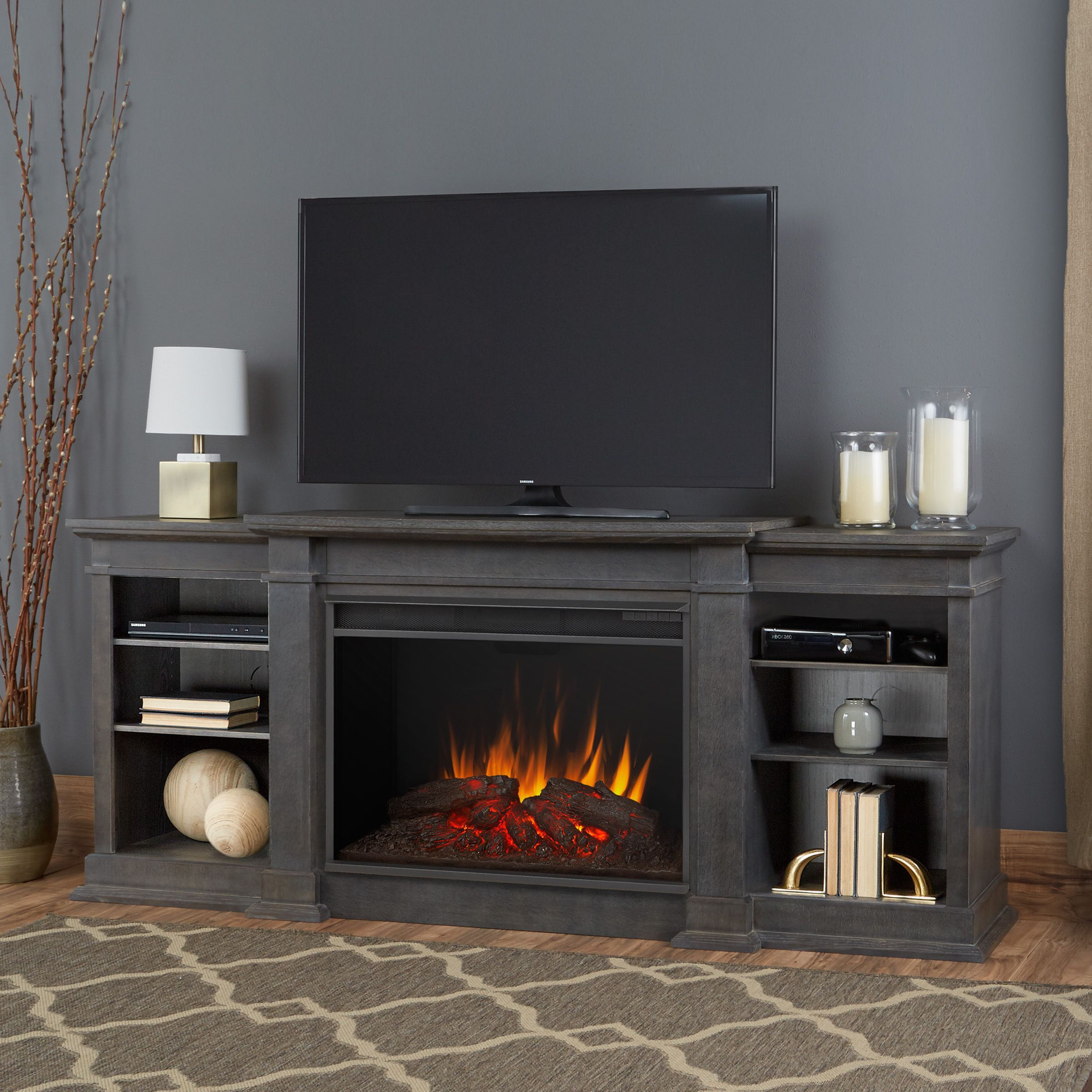 Eliot Antique Grey Grand Electric Fireplace Electric Fireplace