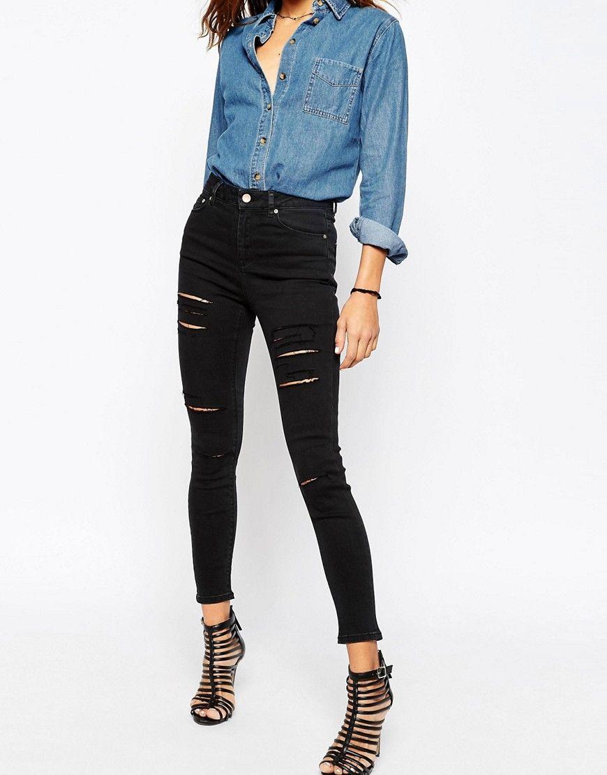 High waist jeans schwarz mit rissen