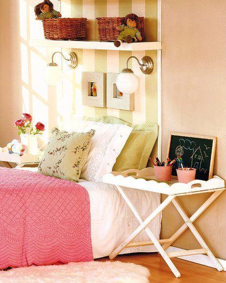 Cabecero útil y decorativo para el cuarto de una chica